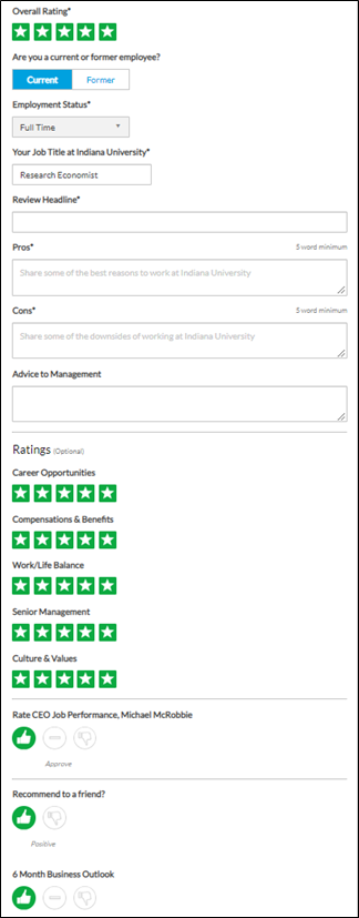 Screenshot asking: overall rating, are you a current or former employee, employment status, job title, pros, cons, advice to management, category ratings, CEO rating, recommend to a friend, 6 month business outlook